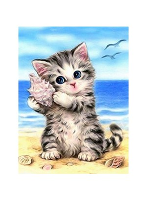 Diamond Painting  -  Kitten met schelp
